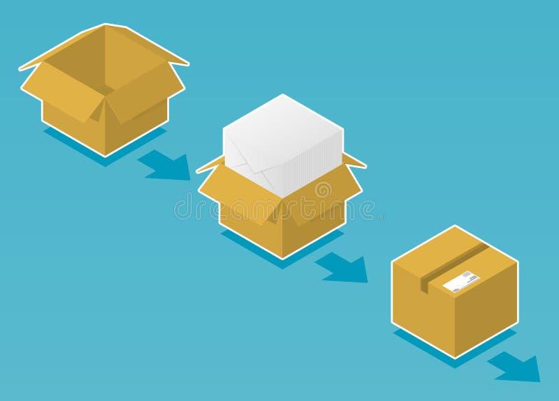 Caixa pronta para enviar com envelopes ilustração do vetor