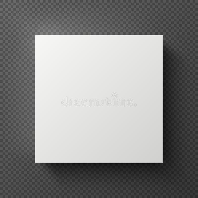Caixa quadrada branca da placa 3d com sombra Opinião superior do recipiente do cartão da amostra Modelo do vetor isolado ilustração royalty free