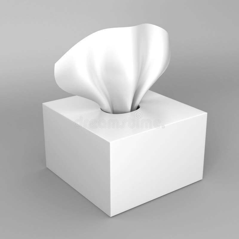 Caixa quadrada do tecido vazio branco no fundo cinzento para o projeto e a zombaria da cópia acima 3d rendem o molde da ilustraçã ilustração stock