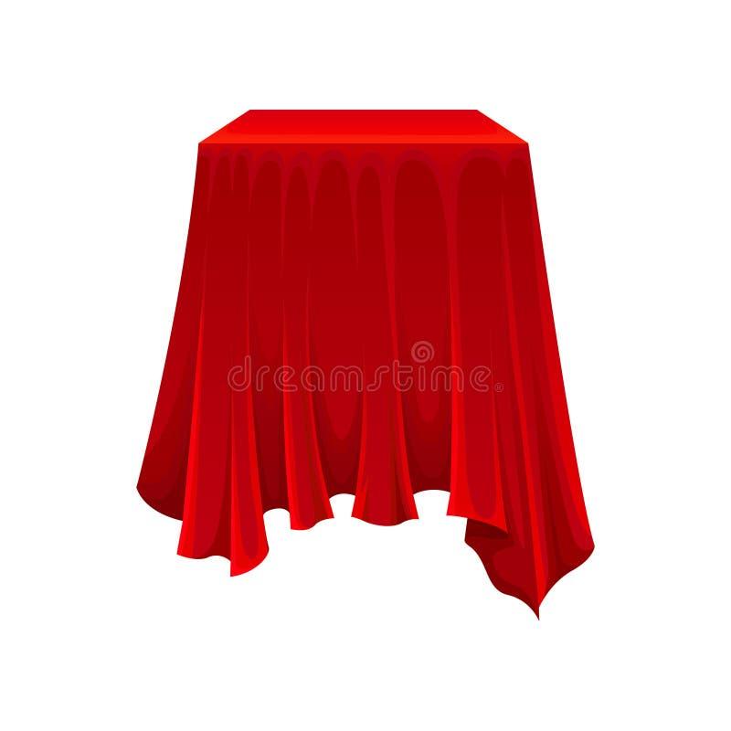 Caixa quadrada sob o pano de seda vermelho no fundo branco ilustração stock