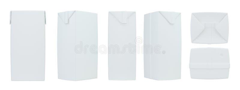 Caixa realística ajustada de suco Pacote da caixa rendição 3d ilustração stock