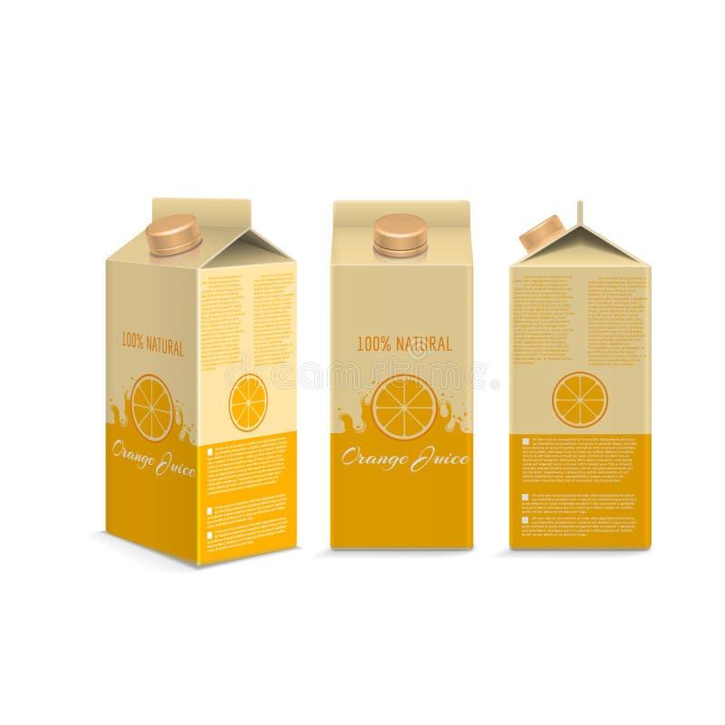 Caixa realística do suco de laranja ilustração do vetor