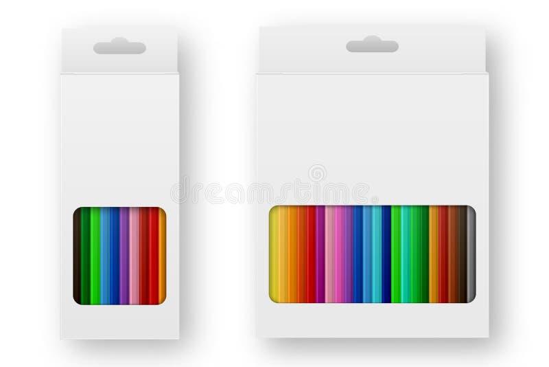 Caixa realística do vetor do close up ajustado colorido do ícone dos lápis isolado no fundo branco Molde do projeto, clipart ou ilustração stock