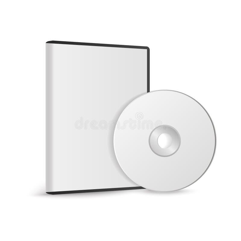 Caixa realística para o disco de DVD ou de CD com o disco de DVD ou de CD Disco compacto Ilustração do vetor ilustração royalty free
