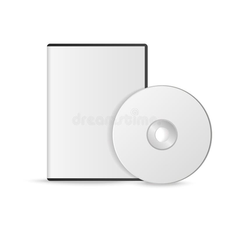Caixa realística para o disco de DVD ou de CD com o disco de DVD ou de CD Disco compacto Ilustração do vetor ilustração stock