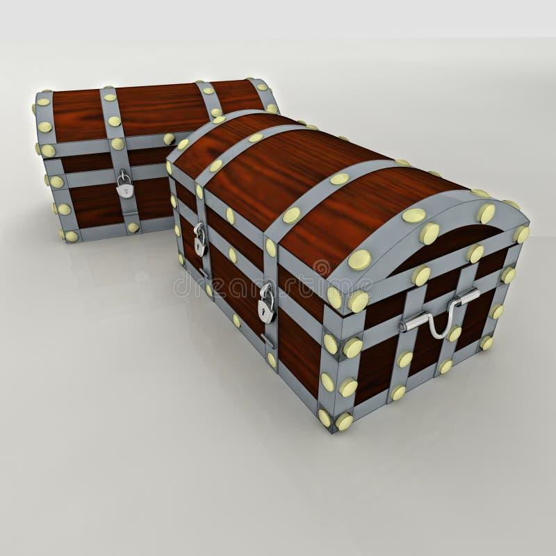 Caixa reforçada madeira do sacurity do metal dois ilustração royalty free