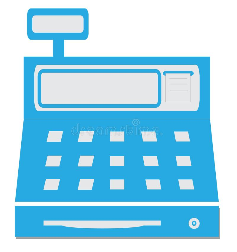 A caixa registadora com uma ilustra??o do vetor da indica??o digital, m?quina de dinheiro ícone azul da caixa registadora no fund ilustração royalty free