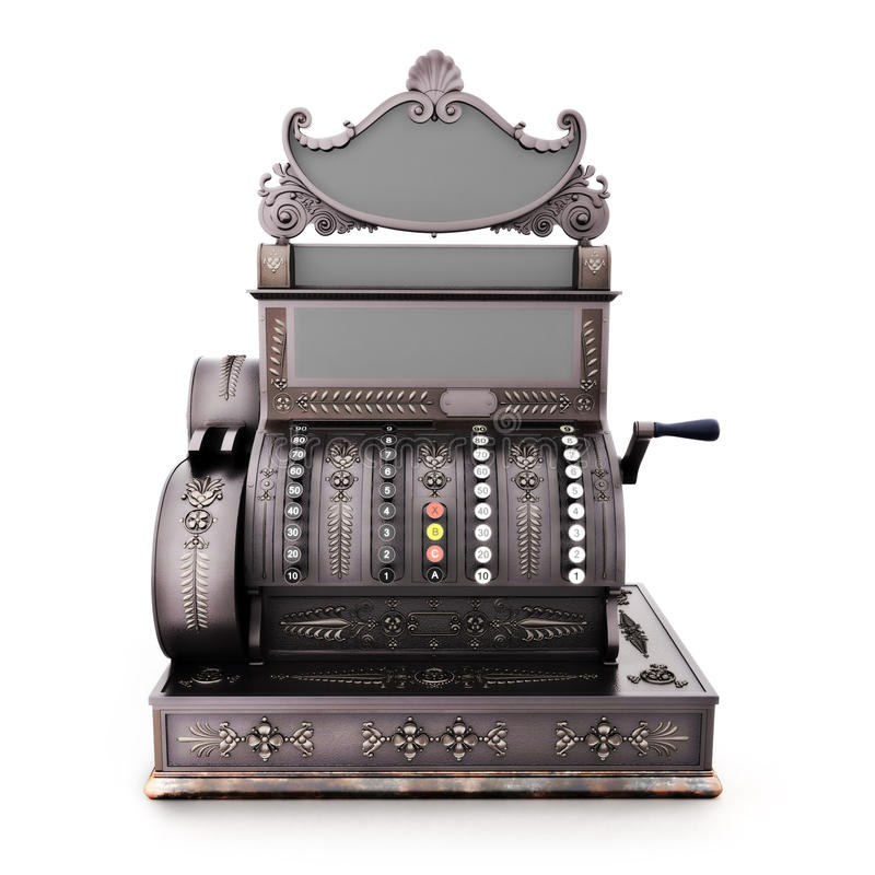 Caixa registadora retro antiga em um fundo branco ilustração stock
