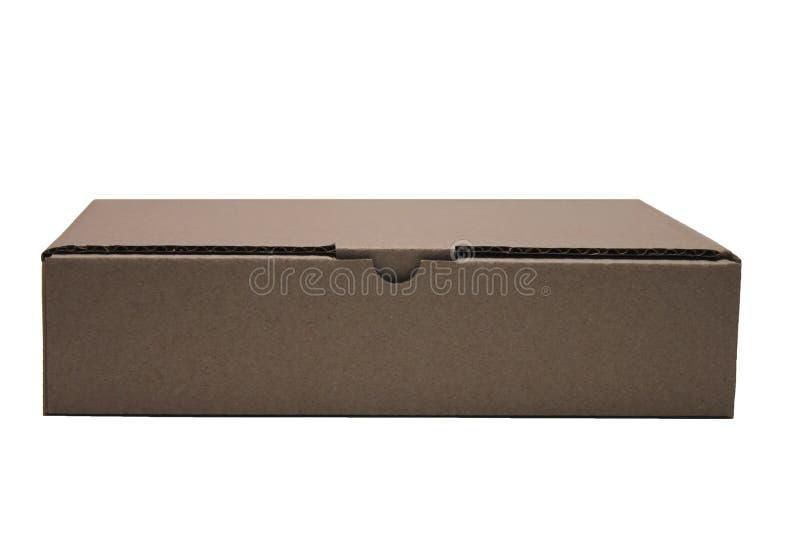 Caixa retangular marrom do cartão isolada no fundo branco foto de stock royalty free