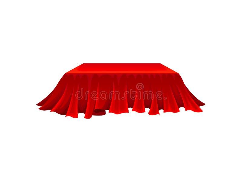 Caixa retangular sob o pano vermelho no fundo branco ilustração do vetor