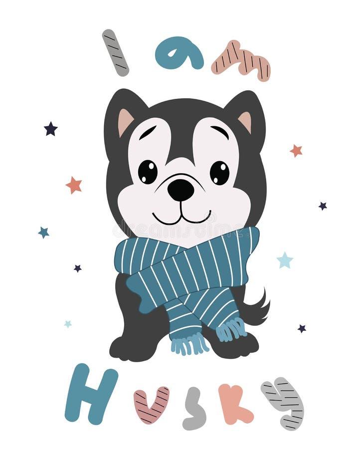 Caixa ronca bonito do cachorrinho cópia criançola para o cartão, camisa de t, tela ilustração royalty free
