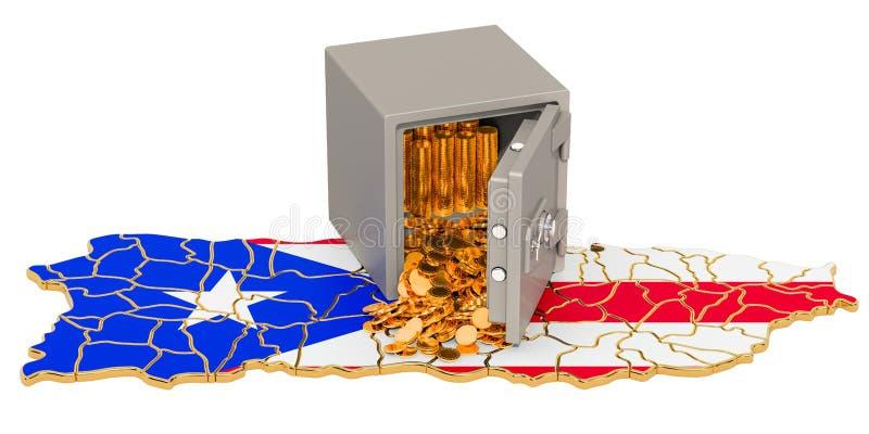 Caixa segura com as moedas douradas no mapa de Porto Rico, rendição 3D ilustração do vetor