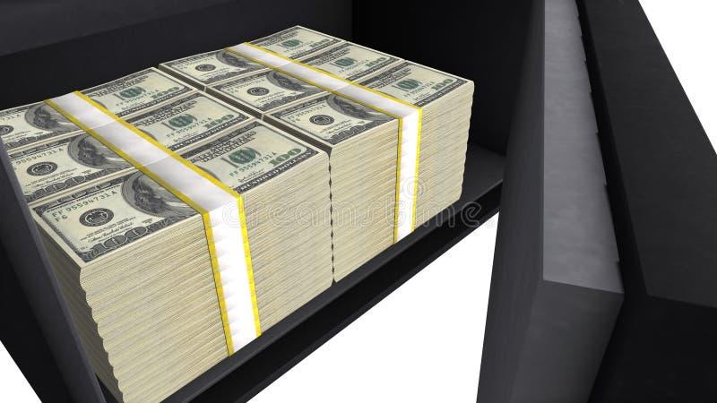Caixa segura completamente de pilhas do dólar americano, economias financeiras privadas, segurança do dinheiro ilustração stock