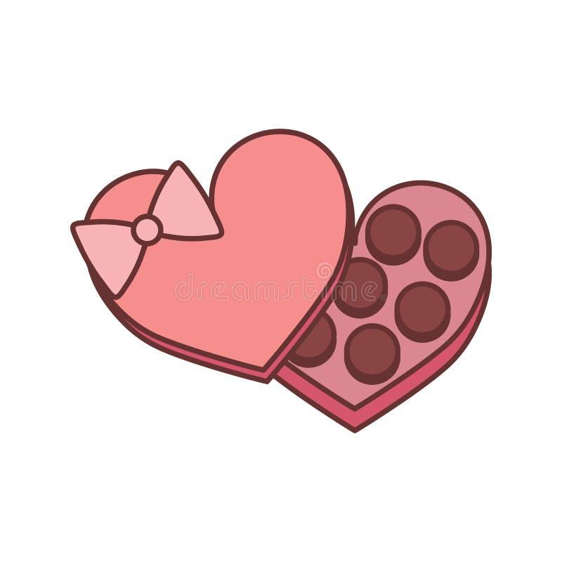 Caixa Valentine Gift Vetora Illustration Graphic do chocolate ilustração royalty free