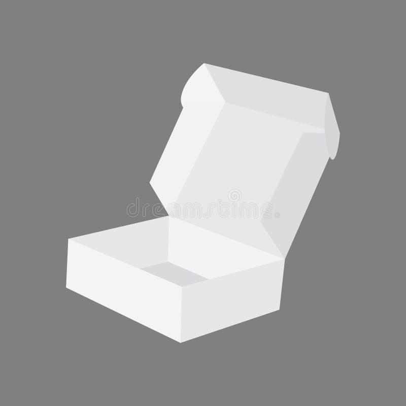Caixa vazia aberta da pizza da caixa isolada no vetor cinzento da ilustração do fundo ilustração stock