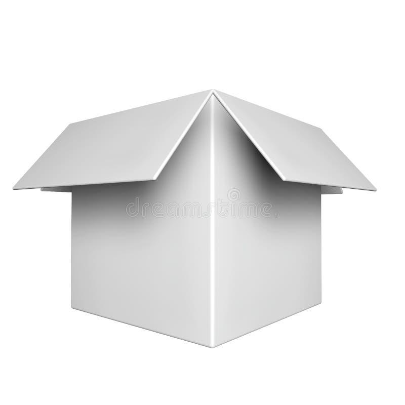 Caixa vazia branca com a tampa aberta no fundo branco ilustração stock