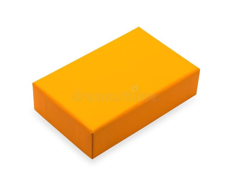Caixa vazia isolada no fundo branco Pacote alaranjado do produto para seu projeto Objeto dos trajetos de grampeamento Forma do re ilustração do vetor