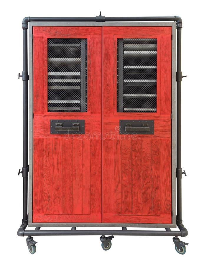A caixa velha do armário do armário da antiguidade do vintage do poço pintado à mão da madeira de pinho das gavetas usou-se isola foto de stock
