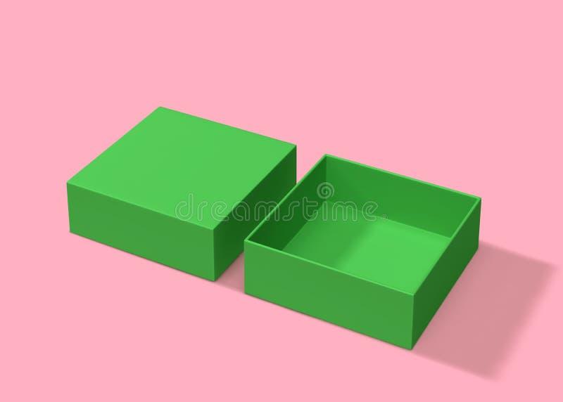 Caixa verde aberta vazia no fundo cor-de-rosa ilustração royalty free
