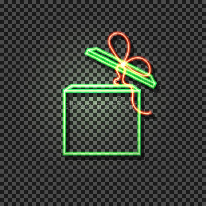 Caixa verde do vetor e vermelha de néon, ícone de incandescência no fundo transparente, caixa aberta do presente ilustração stock