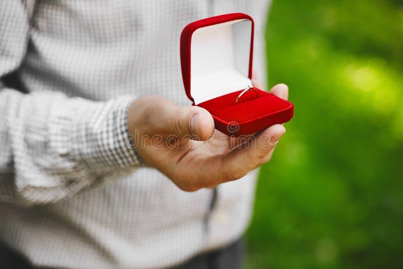 Caixa vermelha com alianças de casamento à moda do ouro nas mãos masculinas do homem novo considerável, proposta de união imagem de stock