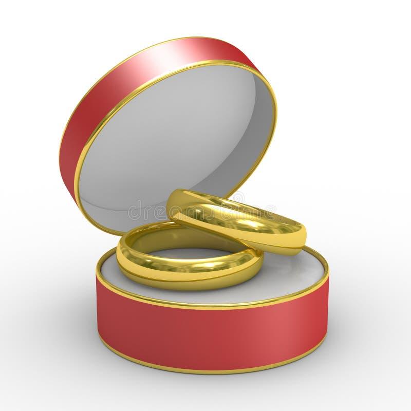 Caixa vermelha com dois anéis de casamento ilustração do vetor