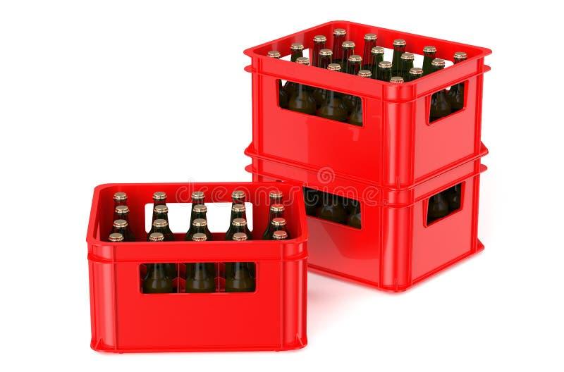 Caixa vermelha completamente com garrafas de cerveja ilustração do vetor