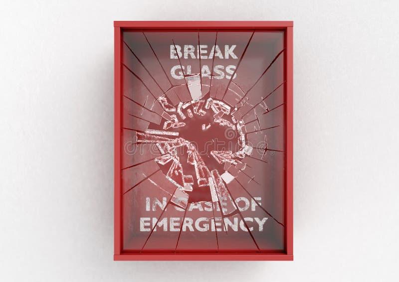 Caixa vermelha da ruptura em caso de urgência ilustração do vetor