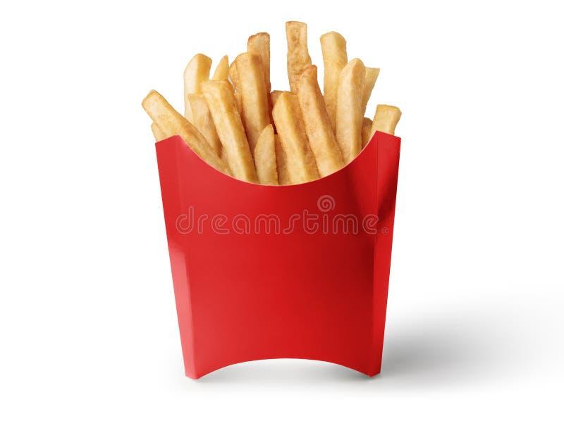 Caixa vermelha das batatas fritas isoladas no fundo branco fotos de stock