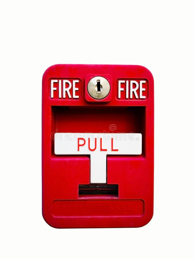 Caixa vermelha do alarme de incêndio para o sistema da advertência e de segurança Puxe o perigo foto de stock royalty free