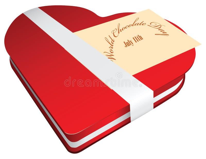 Caixa vermelha do dia do chocolate do mundo ilustração stock