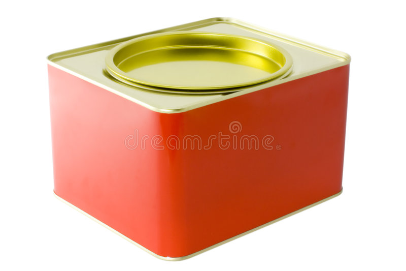 Caixa vermelha do estanho imagem de stock