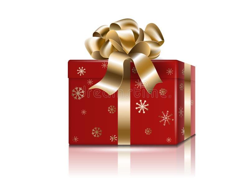 Caixa vermelha do feriado do ano novo do presente de Cristmas com curva e as fitas douradas, 3d modelo realístico com reflexões,  ilustração stock