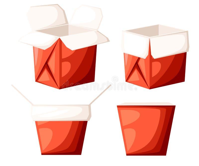 Caixa vermelha para viagem do alimento do restaurante chinês na forma diferente aberta e na ilustração próxima isolada no si bran ilustração do vetor