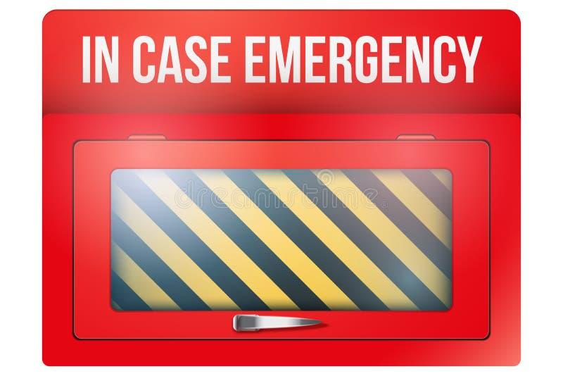 Caixa vermelha vazia com em caso de urgência ilustração stock