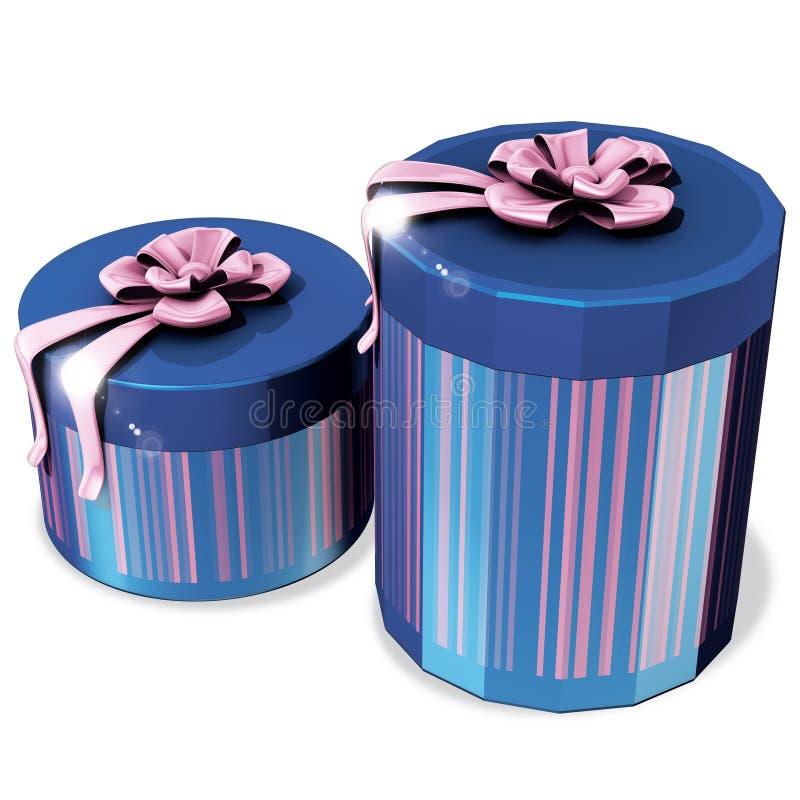 Caixas azuis do presente ilustração stock