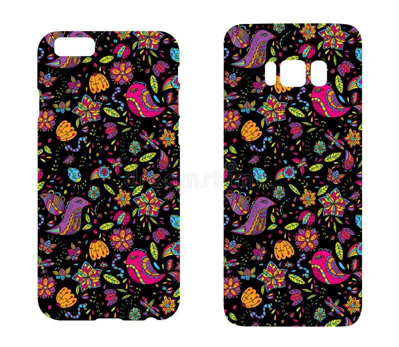 Caixas bonitas para smartphones com os ornamento dos pássaros e das flores Cópia para alinhar o telefone Apronte o projeto Illust ilustração stock