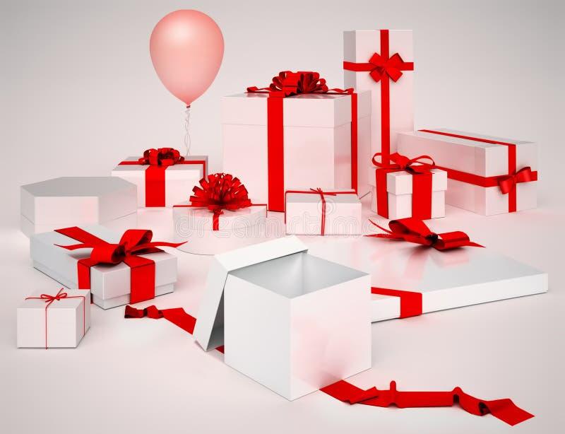 Caixas brancas com presentes e curvas do vermelho isoladas imagens de stock royalty free