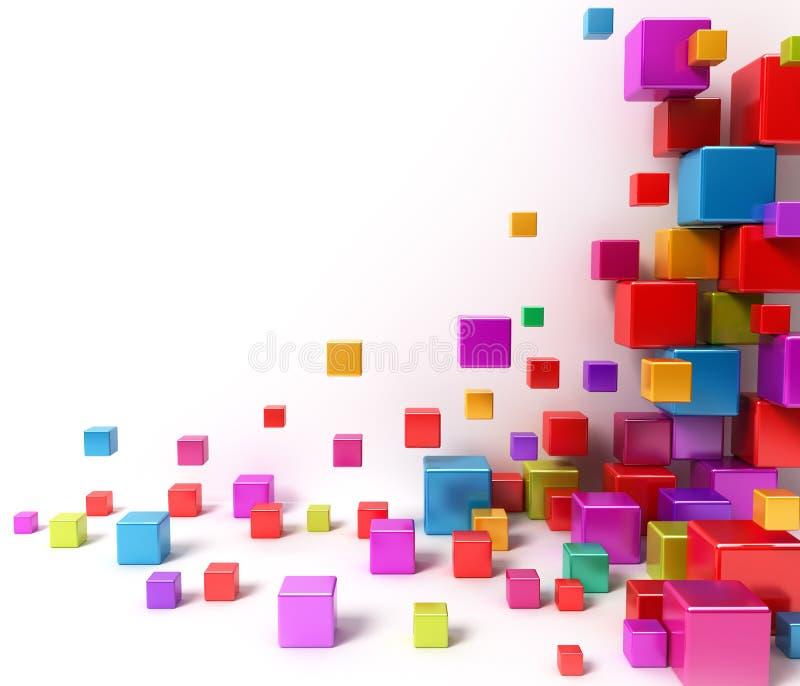 Caixas coloridas. Fundo abstrato ilustração stock