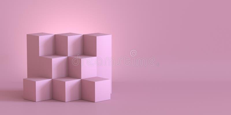 Caixas cor-de-rosa do cubo com fundo da parede vazia rendição 3d ilustração stock