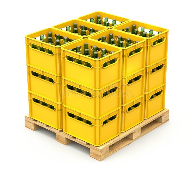 Caixas da bebida na pálete de madeira ilustração stock