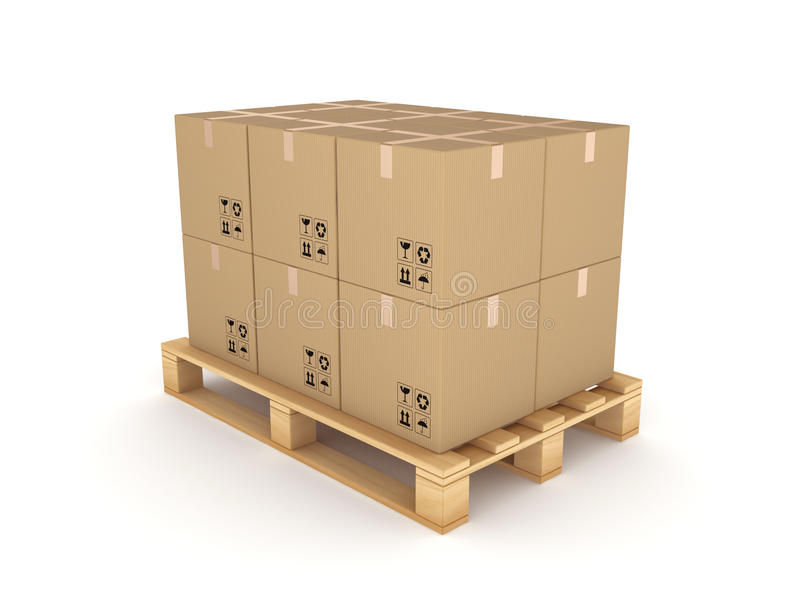 Caixas da caixa em uma pálete ilustração do vetor
