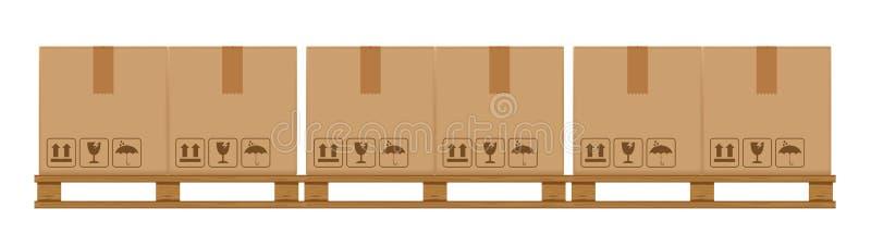 Caixas da caixa na p?lete arborizada, p?lete de madeira com a caixa de cart?o no armazenamento do armaz?m da f?brica, pacote liso ilustração royalty free