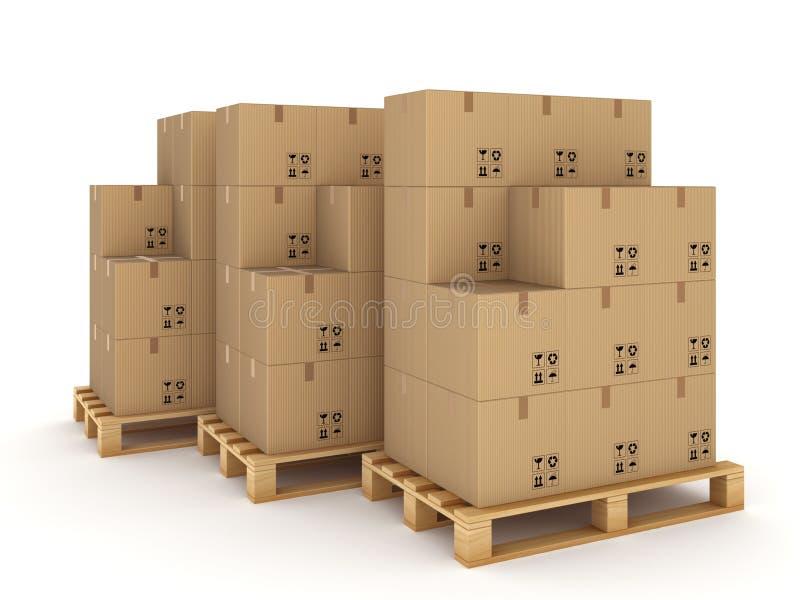 Caixas da caixa no páletes ilustração royalty free