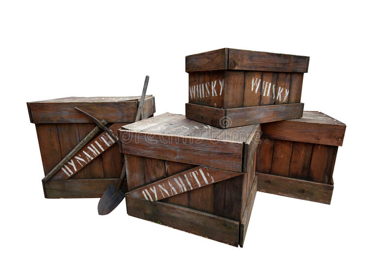 Caixas da dinamite e do uísque fotos de stock royalty free