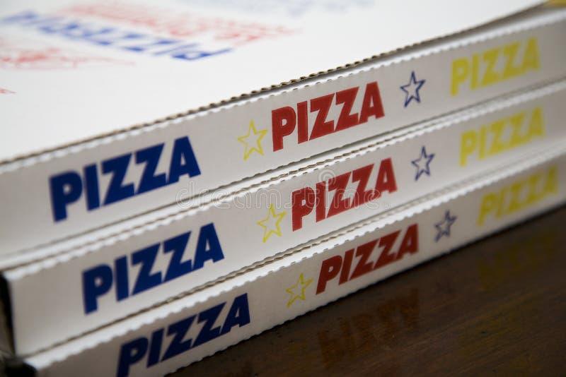 Caixas da entrega da pizza fotos de stock royalty free