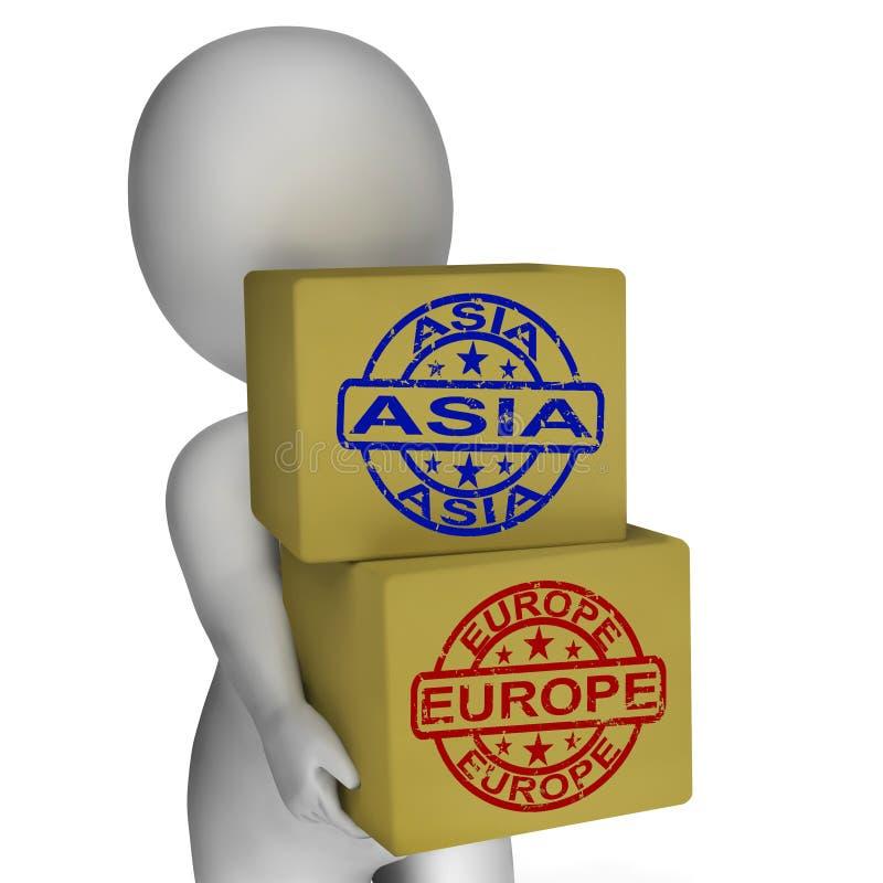 Caixas da importação e da exportação de Europa Ásia ilustração do vetor