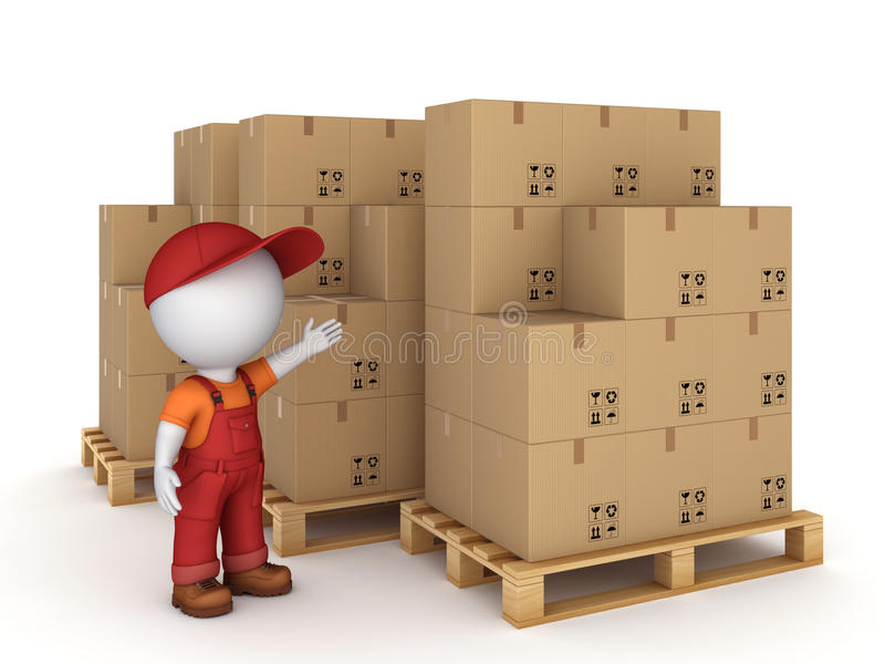 caixas da pessoa 3d pequena e da caixa ilustração royalty free
