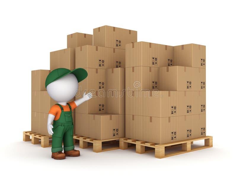 caixas da pessoa 3d pequena e da caixa ilustração stock