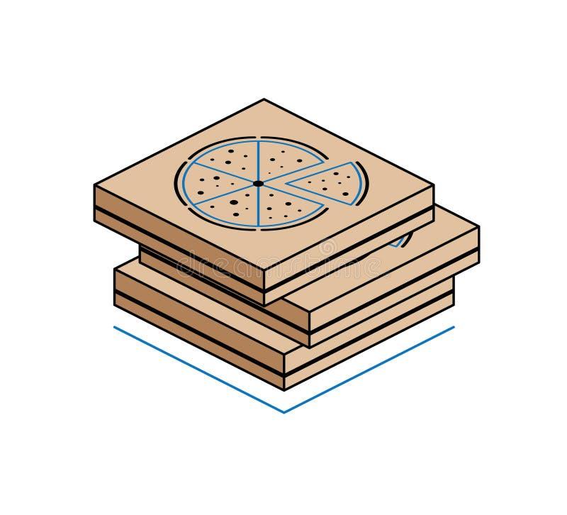 Caixas da pizza isoladas no fundo branco foto de stock